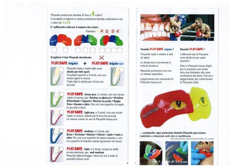 Brochure paradenti sportivo per adulti e bambini